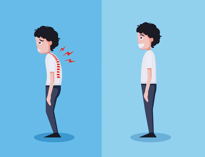 Las personas con estrés tienen como característica una cara larga y una postura encorvada, con los hombros cerrados y brazos inclinándose adelante y abajo